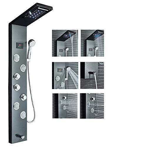 Rozin Duschpaneel aus Edelstahl Temperaturanzeige mit 5 Funktionen LED Regendusche und Wasserfall ABS Handbrause 4 Massagendüsen und Wanneneinlauf 3 Griffe Schwarz Duschsystem