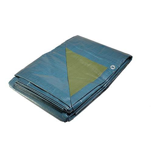 Bâche Multi-usage 6x10 m - Résistante - Etanche - Anti-UV - Bleue et verte - Œillets
