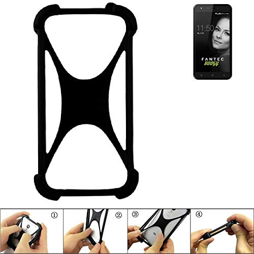 K-S-Trade® Handyhülle Für FANTEC Boogy Schutz Hülle Silikon Bumper Cover Case Silikoncase TPU Softcase Schutzhülle Smartphone Stoßschutz, Schwarz (1x),