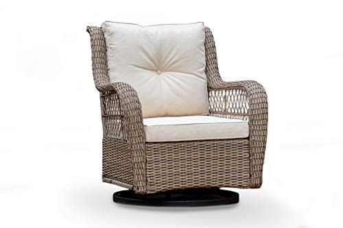 Tortuga Outdoor Rio Vista Wicker Bistro Set - Swivel Glider Chairs and Side Table (Single Chair, Sandstone Wicker and Cushions)