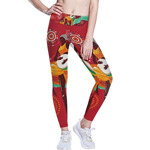 LUPINZ - Pantalones de Yoga con patrón Africano de Djembe para Yoga,...