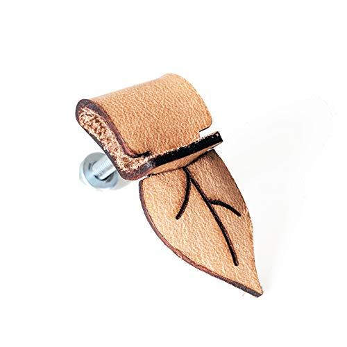 (5 unidades) Tiradores de cuero genuino para bricolaje – Hoja [C1] – Tiradores de cajón de cuero exclusivo para carpetas, armarios y artículos hechos a mano, mango de cuero vintage Shabby Chic