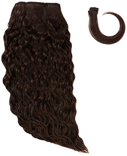 Sans chear vague trame Extension de cheveux humains avec de mélange tissage, numéro 2, marron foncé, 35 cm
