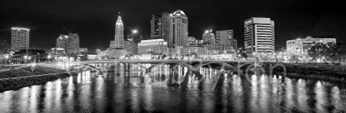 Columbus Skyline PHOTO PRINT UNFRAMED NIGHT Black & White BW City Downtown 11.75 inches x 36 inches Ohio Photographic Panorama Poster Picture Standard Size