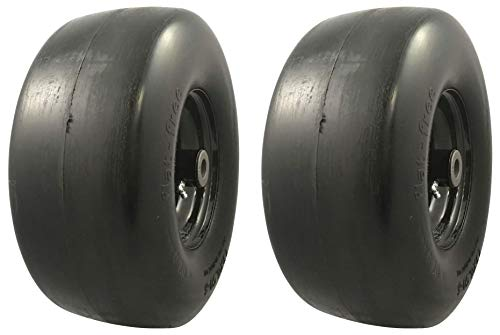 MARASTAR 00242-2 Pack Universal Fit Flat Free 13x6.50-6 Lawnmower Tire Assembly, 2 Pack, Black