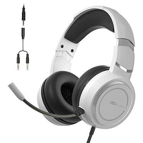 MageGee E6 Gaming-Headset, Kabelgebundene Headphones für PS4 PC Xbox One, Over-Ear Gaming-Headset mit Mikrofon, Verstellbares Kopfband, Lautstärkeregler, 3,5 mm Klinke Gaming-Kopfhörer, Weiß