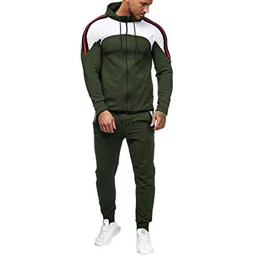 Xmiral Felpa Top Pants Set Uomo Autunno Gradiente Uomo Cerniera Stampa Tuta Sport Tuta Tracksuit (3XL,1- Army Green)