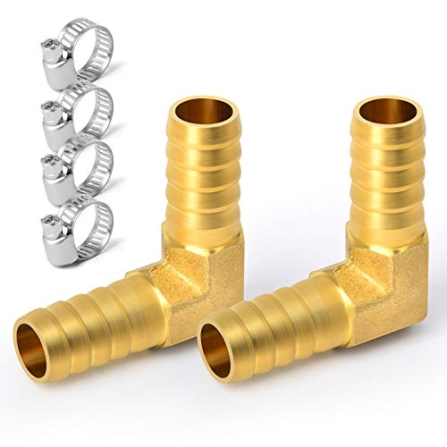 Gasher 2 Pieces Brass Hose Barb Reducer, 3/8 Inch to 3/8 Inch Barb Hose ID 90 Degree L Right Angle Elbow with 4 Hose Clamps, Brass Barb Reducer SPLICER Fitting Fuel/AIR/Water/Oil/Gas/WOG