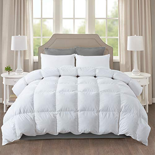 IGI All-Season White Down Quilted Comforter with 100% Cotton Cover and Premium Quality Goose Duck Down Feather Filling-Duver Insert or Stand Alone-4 Corner Loops-Twin Size (68×90 inch)