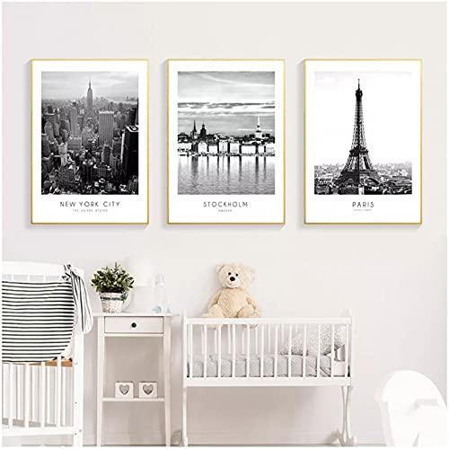 ZSYNB Modern New York Stockholm Paris stad väggkonst landskap affischer och tryck svartvita bilder för vardagsrum heminredning bakgrund väggdekoration triptyk