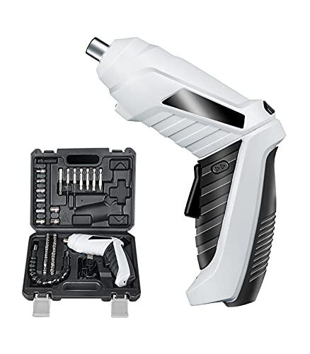 電動ドリル 電動ドライバー Housolution 電気ドリル 45本ビットセット?USBコードレス コンパクト 3.6V 小型 変形ハンドル LEDライト付き 正逆転切替 USB充電ケーブル付き 持ち運び便利 家具組み立て 家庭用 電動ドライバーセット