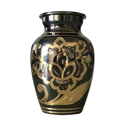 Petite urne funéraire classique en laiton nickel poli Noir