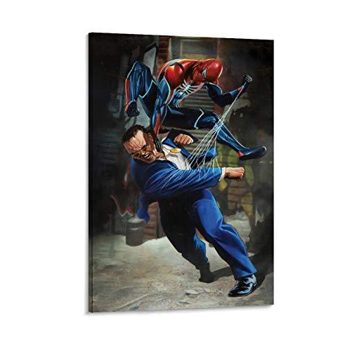 Ghychk Spider-Man Game Fight Art Paintings Decorativos Pintados Sofá Fondo Pared para Salón Dormitorio Decoración Listo para colgar 20 x 30 cm