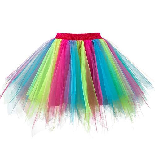 Ksnnrsng Damen Tüllrock tütü Rock 50er Rockabilly Petticoat Tutu Unterrock Kurz Ballett Tanzkleid Cosplay Ballkleid Abendkleid (Regenbogen, M)