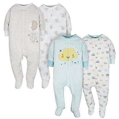 Gerber Baby 4-Pack Sleep N' Play, Clouds/Elephant, 3-6 Months