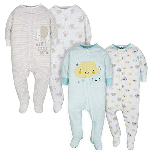 Gerber Baby 4 Pack Sleep N' Play Footie, Clouds/Elephant,...