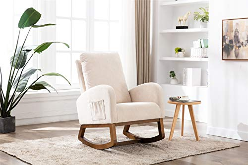 Pannow Upholstered Rocking Chair Mid-Century, Modern Nursery Rocking Armchair, Upholstered Tall Back Accent Glider Rocker with 2-Side Pocket for Bedroom Living Room Lounge