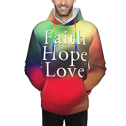 Sudaderas con capucha para hombre - Faith Hope Love Iluminación colorida, Negro, XXL