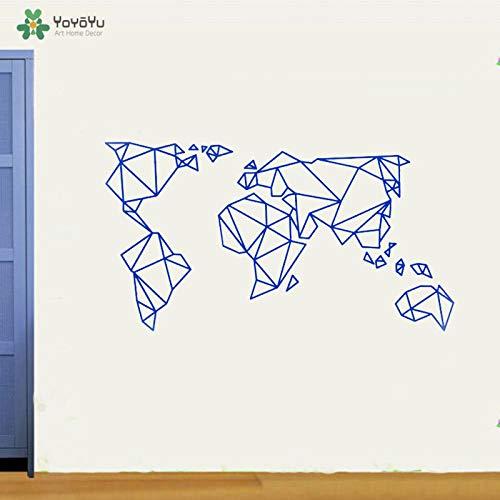 fancjj Tatuajes de Pared Origami Mapa del Mundo Grande Pegatinas de Pared Mural para la Sala de Estar Dormitorio Arte de la Pared Muebles Pegatinas 42x77 cm
