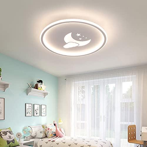 HAITOY Lámpara de Techo LED Moderna Creativa, Rstrella Luna Lampara de Techo Redonda, 3 Tonos de luz, Área de Radiación: 107.64-161.46 Pies Cuadrados,Blanco