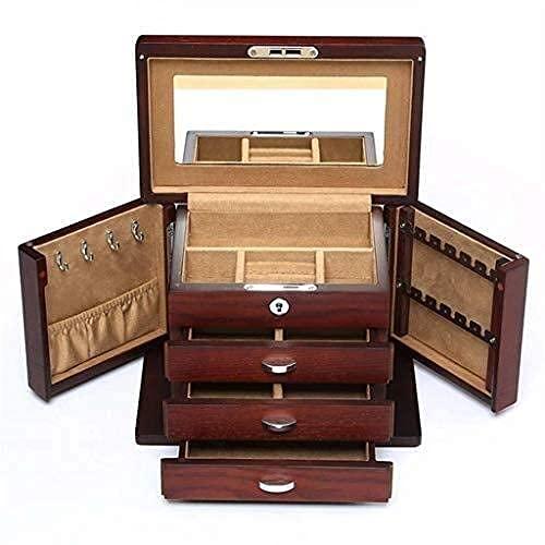 FGVBC Enrollador automático de Reloj, Organizador de Cajas para Mujer, Estuches Personalizados de Madera, Hebilla de Metal para Soporte, Happy Life