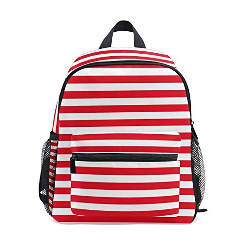 Backpack for Boys and Girls Mini Backpack Travel Bag with Chest Clip Beautiful Red White Line Stripes