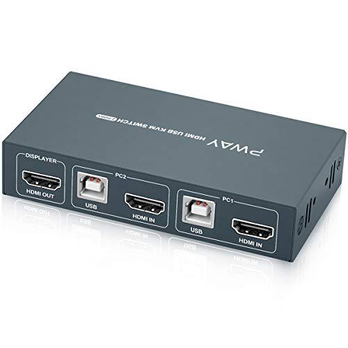 KVM Switch HDMI USB 2 Port 4K,KVM Switch 2 PC 1 Monitor,4K@30 Hz,4 USB2.0,KVM USB Umschalter,Mit 2 HDMI-Kabeln und 2 USB-Kabeln