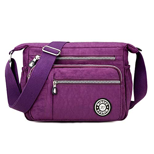 Bolsos de hombro tipo bandolera, de nailon, para mujer, modernos, estilo casual, color Morado, talla Small