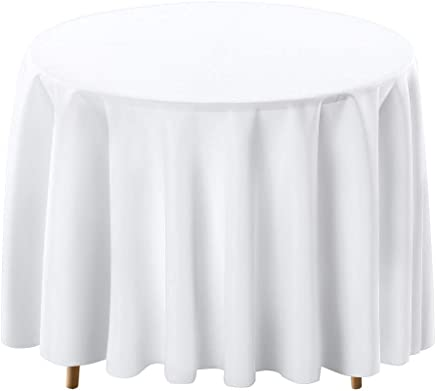 Remarkable Amazon Com White Round Tablecloths Kitchen Table Beutiful Home Inspiration Ommitmahrainfo