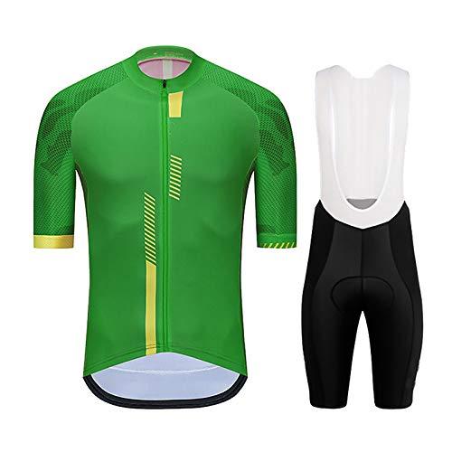 Ropa De Ciclismo para Hombre Trajes, Verano Clásico Transpirable Secado Rápido Bicicleta MTB Manga Corta Maillot De Ciclismo con Pantalones Cortos Acolchados De Gel 9D (Color : Verde, Talla : L)