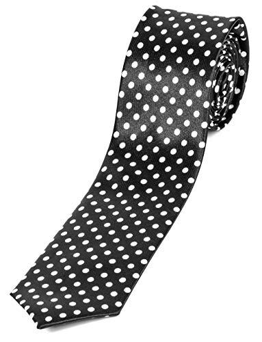 Evil Wear Motto-Krawatte Designer Krawatte Schwarz Einfarbig Standartbreite Handgefertigte Weisse Punkte