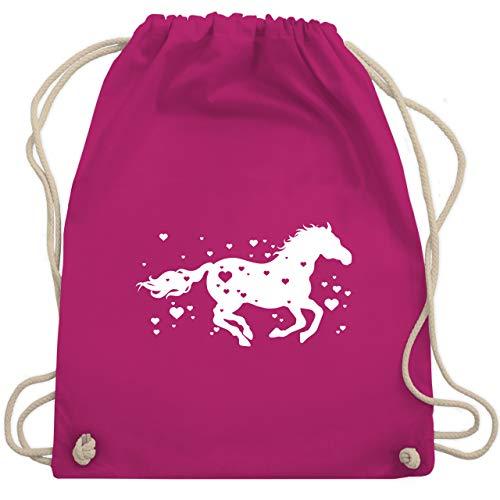Shirtracer Pferde - Pferd mit Herzen - Unisize - Fuchsia - stoffbeutel pferde - WM110 - Turnbeutel und Stoffbeutel aus Baumwolle
