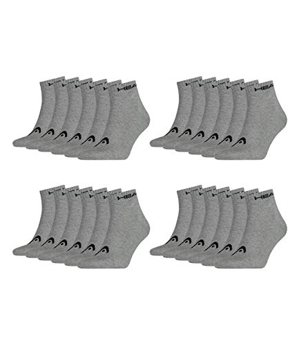 HEAD Unisex Quarter Sportsocken 12er Pack, Größe:39/42, Farbe:Grey (400)