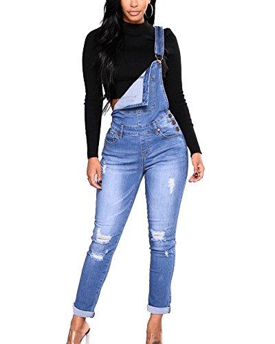 ShiFan Donna Salopette in Jeans Overall Stretti Denim Pantaloni Strappati Lunga Blu L