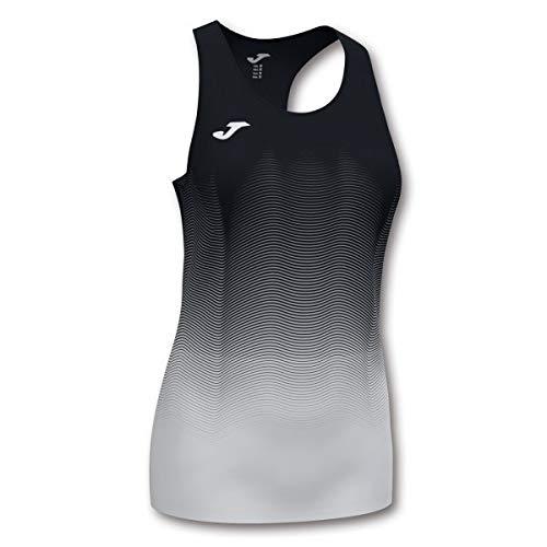 Joma Elite Camiseta Tirantes Running, Mujer, Negro-Blanco, L