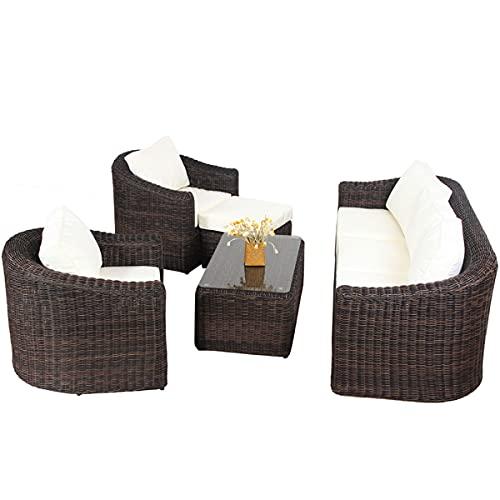 SVITA Poly Rattan Lounge Aluminium Rundrattan Gartenset Sofa Garnitur Polyrattan Gartenmöbel