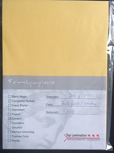 100 Blatt DIN A6 Transparentpapier gelb/creme 100g/m² exzellente Durchsicht, sehr gute Qualität Pergamentpapier bedruckbar
