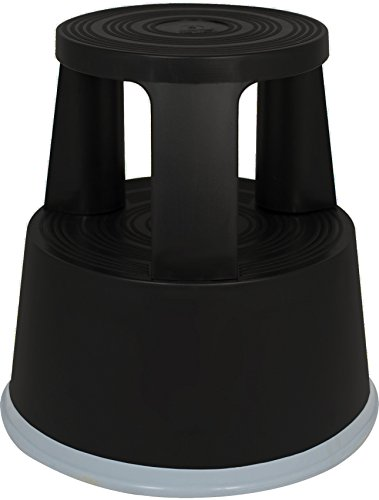 Rollhocker Elefantenfuß Tritthocker aus Kunststoff, Farbe: schwarz, TÜV- und GS-geprüft nach EN 14183:2003