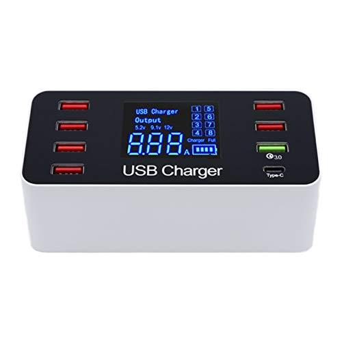 Bocina Bluetooth Portatil Altavoz Bluetooth 8A de carga rápida con pantalla LCD - USB cargador inteligente, cargador de pared for el concentrador de varios dispositivos USB, teléfonos inteligentes Ban