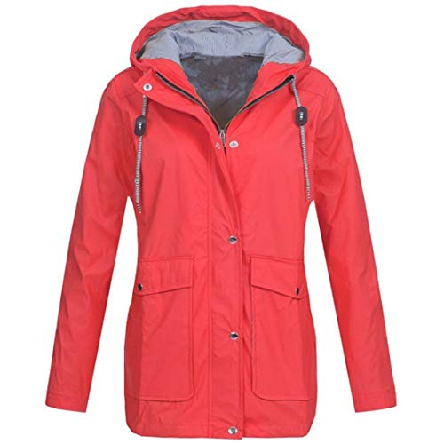 YUPENG Jacke Damen Mode Reißverschluss Wasserdicht Übergangsjacke Regenmantel Atmungsaktiv Parka Coat Mit Kapuze Outdoorjacke Für Wandern Camping Winddicht Parka Coat XL