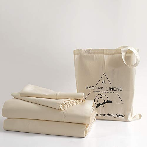 100% Organic Cotton King Sheet Set Ivory | Percale Weave | 4 Piece | 300 Thread Count | GOTS Certified | Cool Crisp Breathable| Luxury Finish | Fits Upto 16' Deep Pocket Mattress | Sustainable