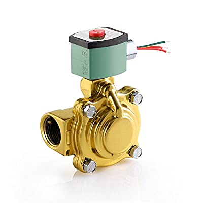 """ASCO 8210G004-12/DC Brass Body Pilot Operated General Service Solenoid Valve, 1"""" Pipe Size, 2-Way Normally Closed, Nitrile Butylene Sealing, 1"""" Orifice, 13 Cv Flow, 12V/DC from ASCO Valve Inc."""