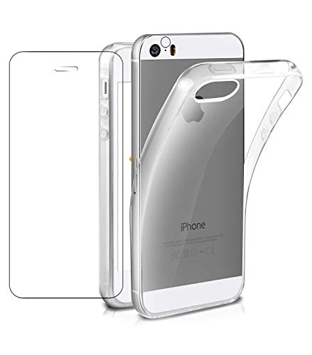 FroFine - Cover per iPhone SE, in Silicone, Compatibile con iPhone 5S, Trasparente + Vetro temperato di Protezione + Fotocamera Posteriore di Protezione a 360°, Protezione in TPU, Ultra Sottile