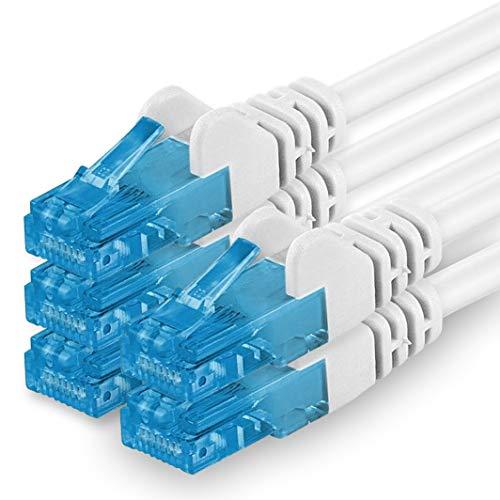 Cable de Red de Pares Trenzados, apantallado, categoría 6 (A) (500 MHz, 10 GB/s), Compatible con Cable LSZH de categoría 5e, 5, 6, 7, 8, conmutador de Router Blanco 5 Unidades de Color Blanco.