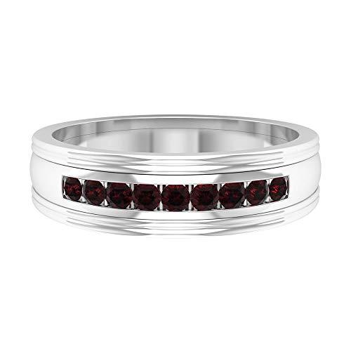 Rosec Jewels 14 quilates oro blanco redonda Red Garnet