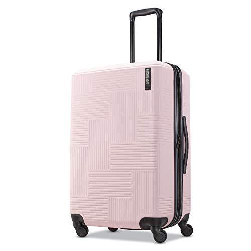 American Tourister Stratum XLT Hardside Luggage, Pink Blush, Checked-Medium