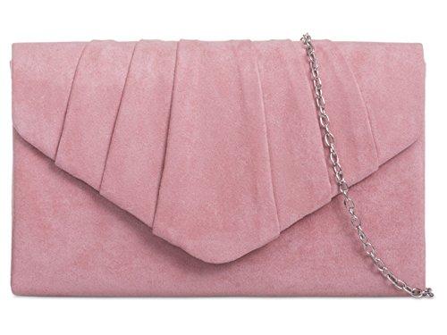 Fi9® - Bolso de mano de ante, plisado, liso, ideal para bodas, fiestas de graduación o de noche, color Rosa, talla M