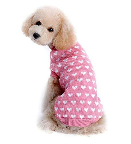 Ducomi Harten – trui voor honden en puppies gemaakt van zachte en warme garen met een hartpatroon, XXL, roze