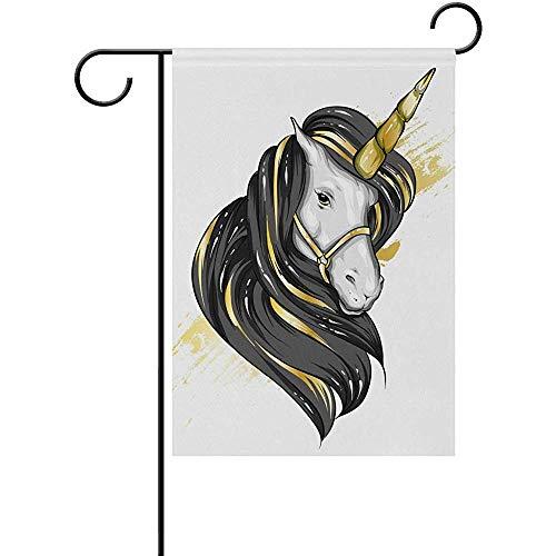 qinzuisp Eenhoorn Paard met een Mane Vakantie Vlag Dubbele Zijpartij Thuis Outdoor Decoratie St. Patrick's Day Tuin Vlag