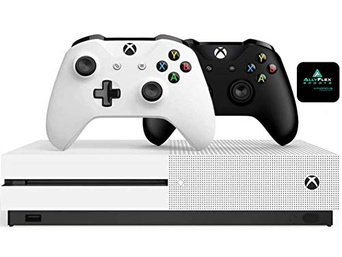 Microsoft Classic Original Xbox One S 1TB HDD with 4K Blu-ray DVD Reader, Two Wireless Controllers Black and White Included,1-Month Game Pass Trial, 14-Day Xbox Live Gold + AllyFlex Sports Cup Mat